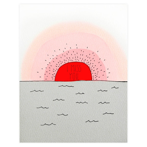 Miss You Sunset Greeting Card By Hartland Brooklyn - 1