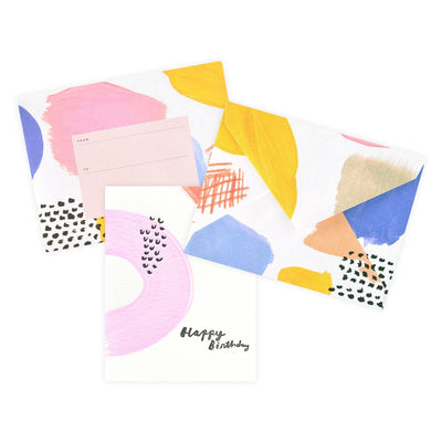 Moglea Hand-Painted Color Party Pink Birthday Card - GREER Chicago Online Stationery Shop