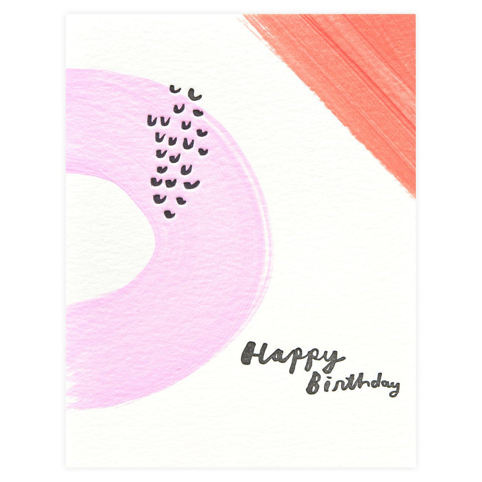 Moglea Hand-Painted Color Party Pink Birthday Card