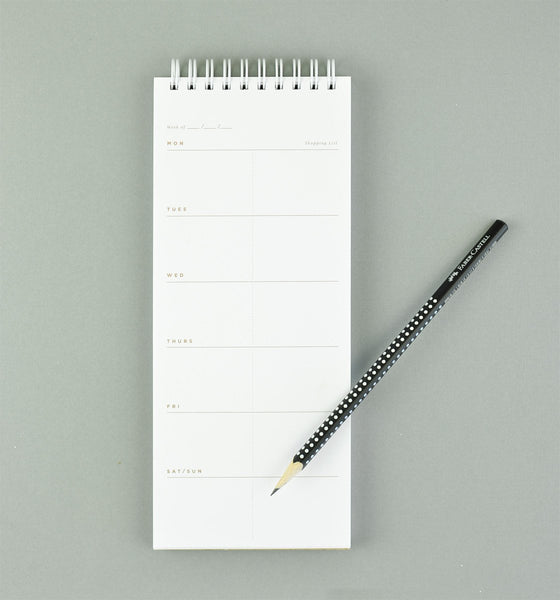 Hand Painted Meal Planner Black Stripe - GREER Chicago Online Stationery
