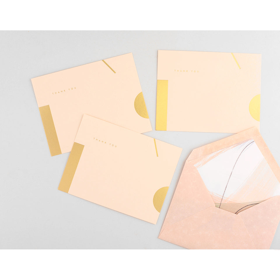 Moglea Sorbet Painted Liner Flat Thank You Cards Boxed