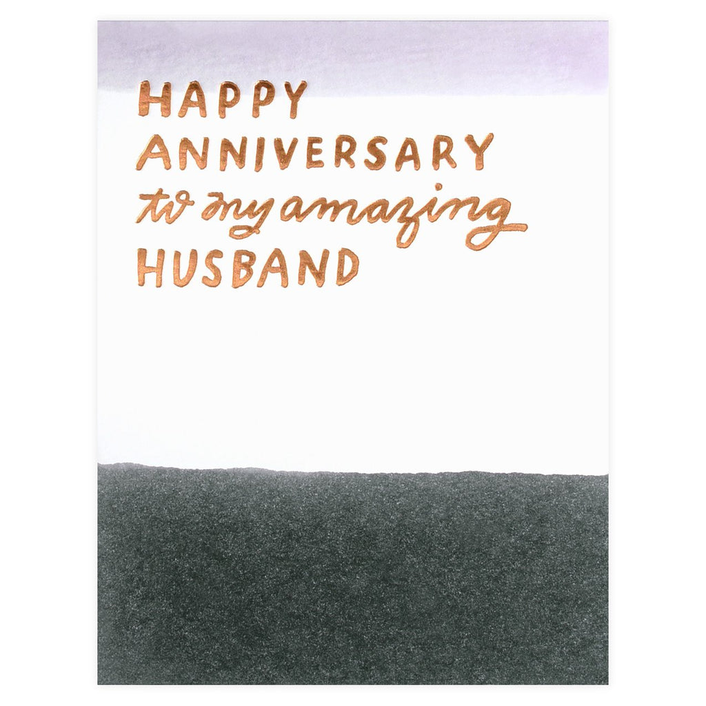 To My Amazing Husband Hand Dip-Dyed Anniversary Card