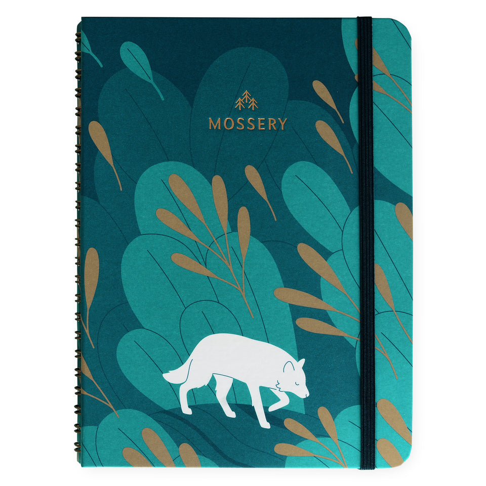 Mossery Wirebound Notebook Night Wolf Ruled - SAMPLE SALE
