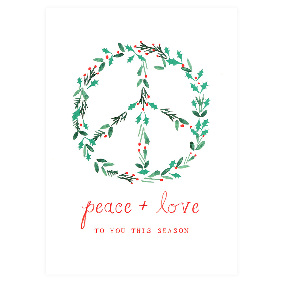 Mr. Boddington's Studio Peace and Love Holiday Cards Boxed