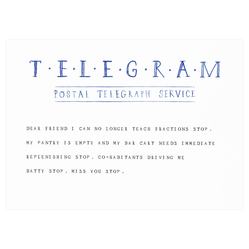 Mr. Boddington's Studio Telegram Stop Greeting Card