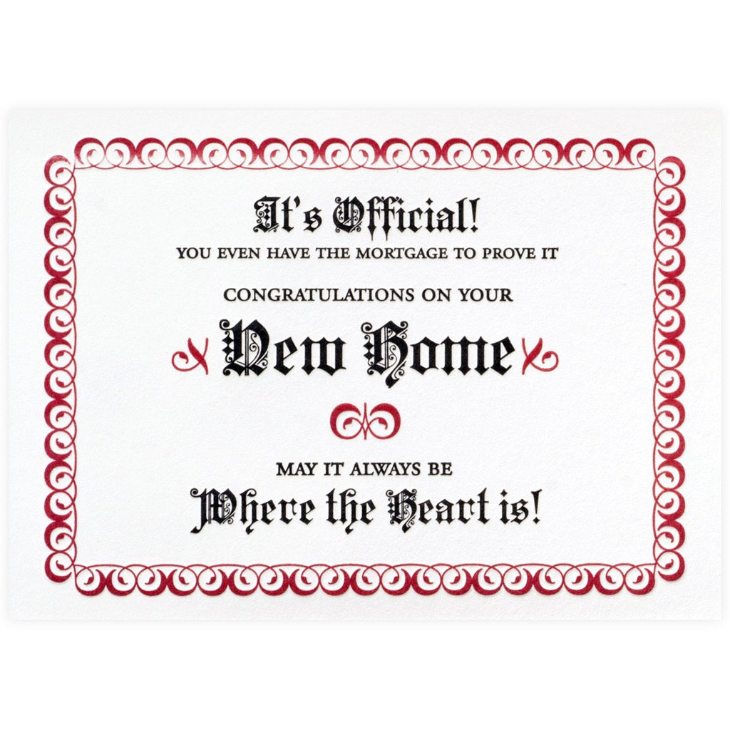 New Home Certificate By A. Favorite