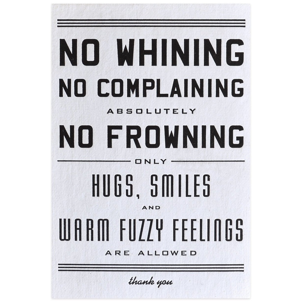 No Whining Postcard - GREER Chicago Online Stationery