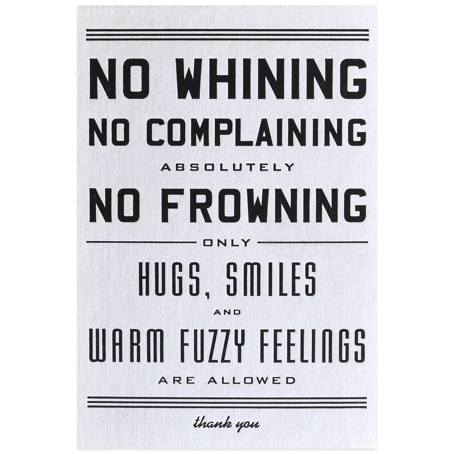 Hammerpress No Whining Postcard - GREER Chicago Online Stationery Shop