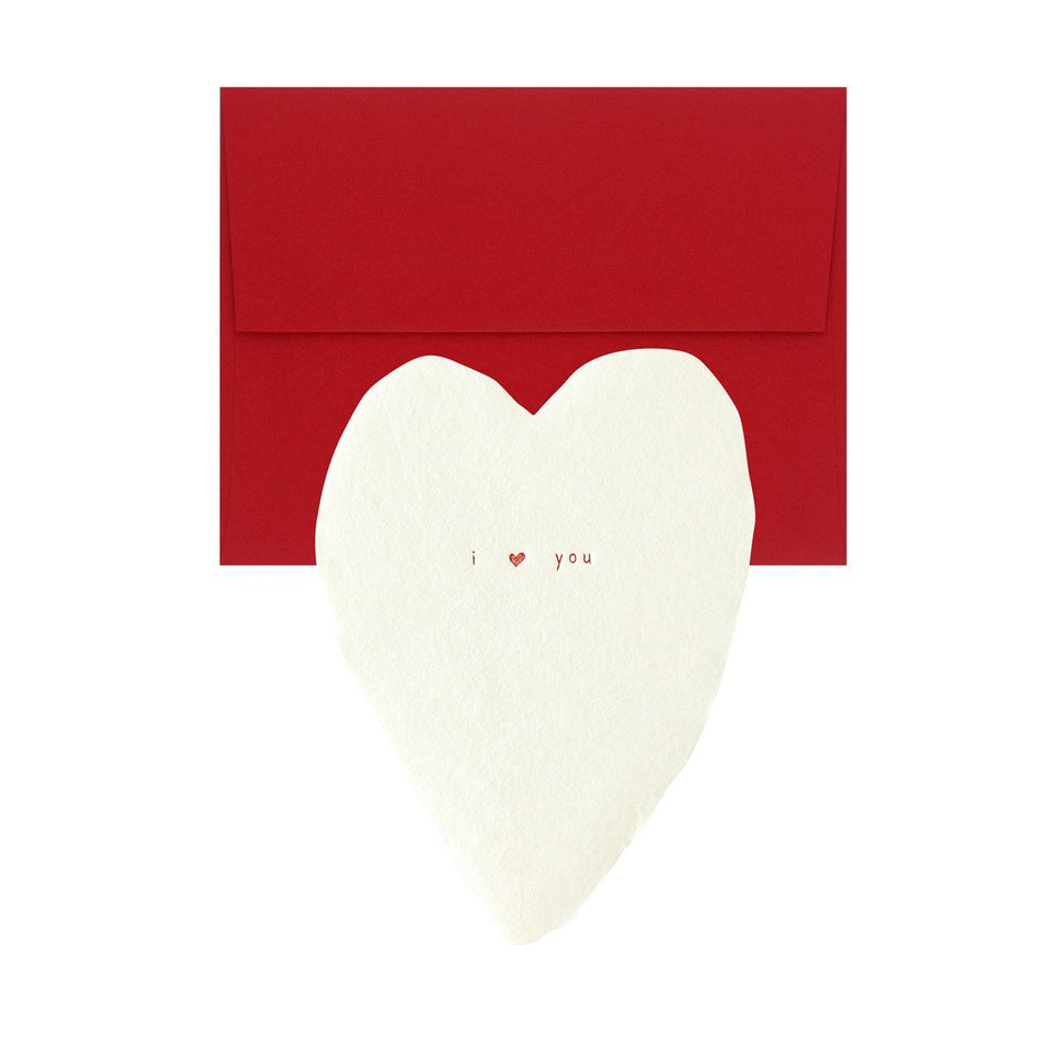 Oblation Papers & Press I ♥ You Handmade Paper Hearts Flat Card