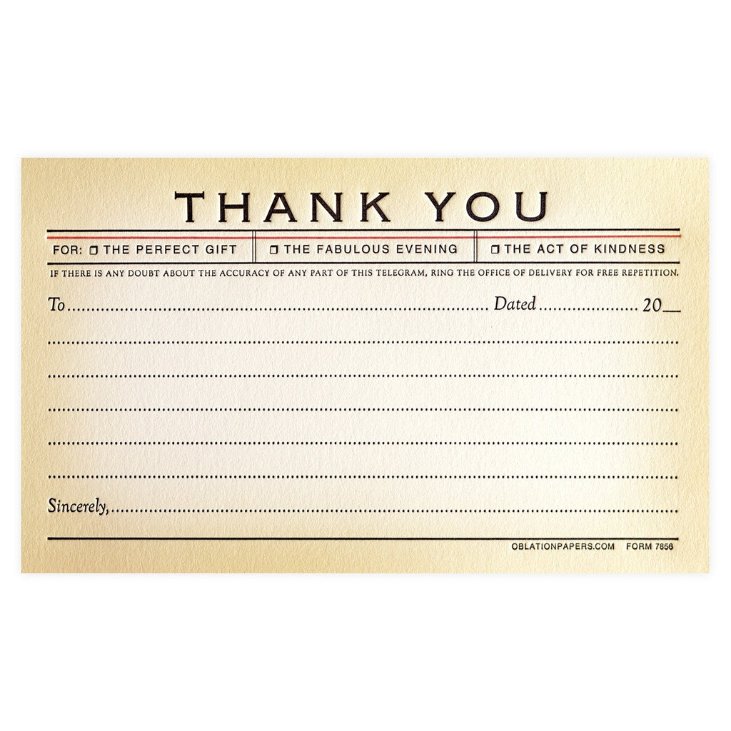 Telegram Flat Thank You Boxed Cards By Oblation Papers & Press - 1
