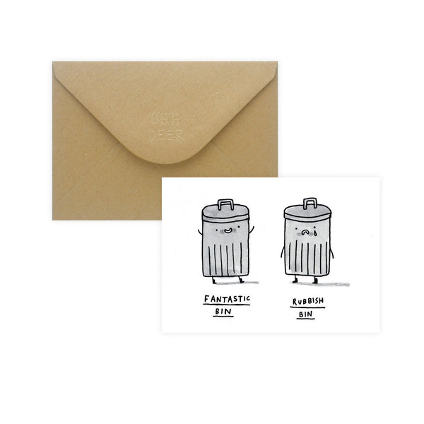 Gemma Correll Fantastic Bin Rubbish Bin Greeting Card By Ohh Deer - 1