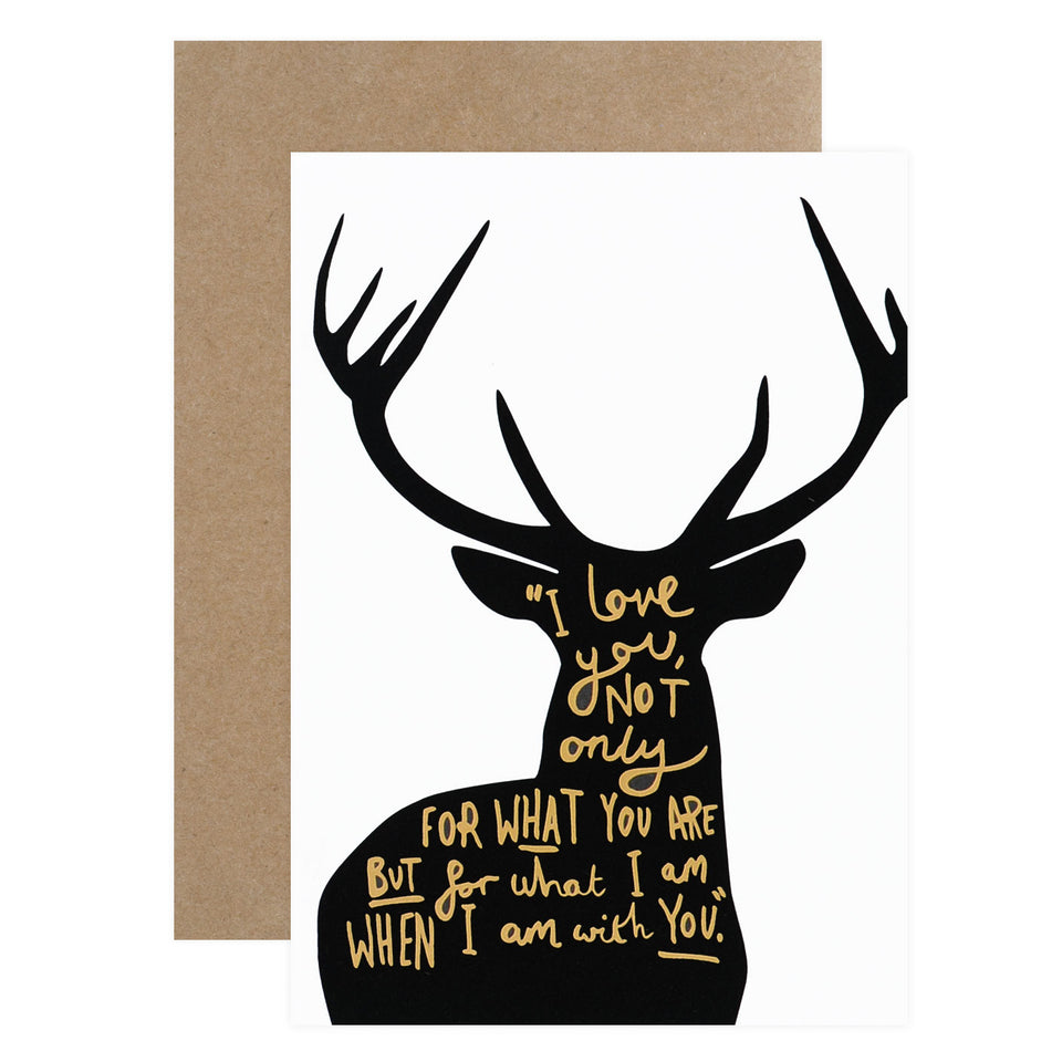 Old English Company Deer Love Poem Greeting Card