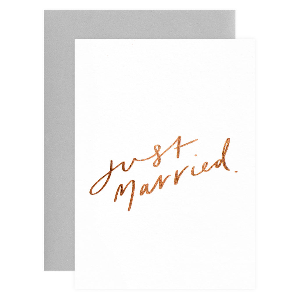 Old English Company Just Married Wedding Card