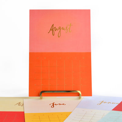 Our Heiday 2018 Color Bloc Desk Calendar and Gold-Plated Stand - GREER Chicago Online Stationery Shop