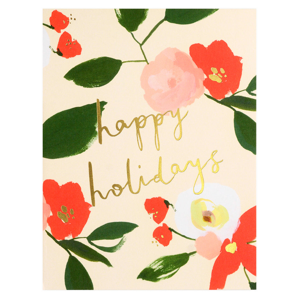 Our Heiday Happy Holidays Floral Cards Boxed or Single