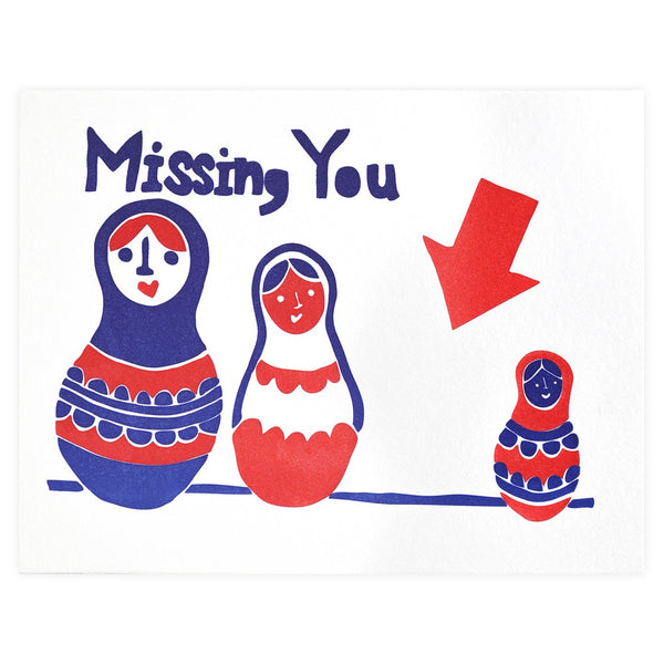 Papa Llama Nesting Doll Missing You Greeting Card - GREER Chicago Online Stationery Shop