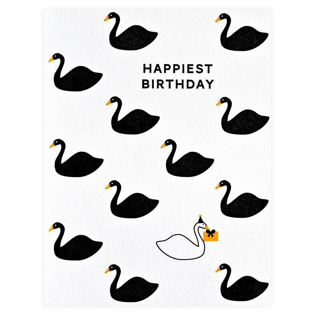 Happiest Birthday Swans Greeting Card - GREER Chicago Online Stationery