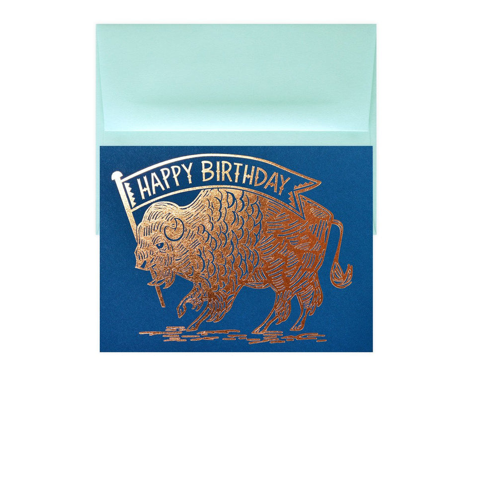 Paper Parasol Press Birthday Buffalo Copper Greeting Card