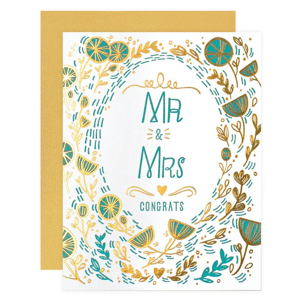 Paper Parasol Press Mr & Mrs Gold Floral Wedding Card