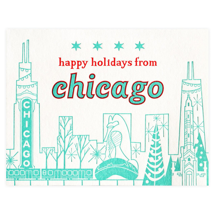 Paper Parasol Press Happy Holidays Chicago Cityscape Boxed Cards