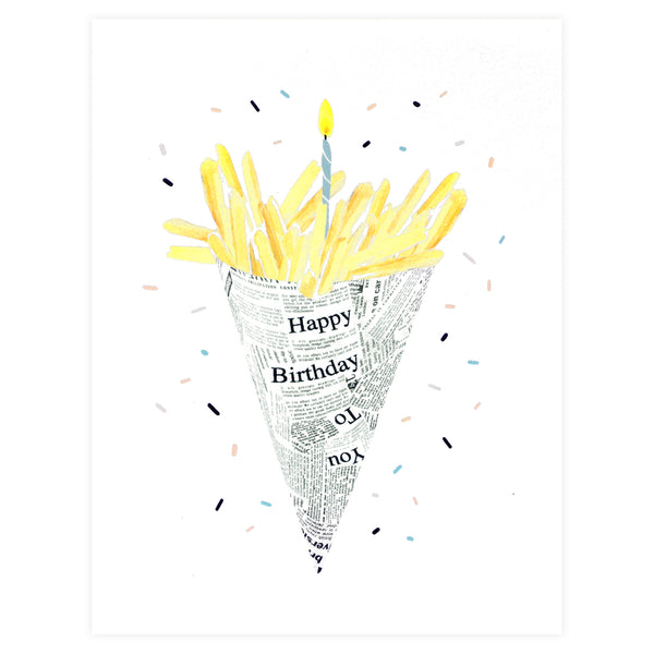 Alisa Bobzien Birthday Fries Card - GREER Chicago Online Stationery Shop