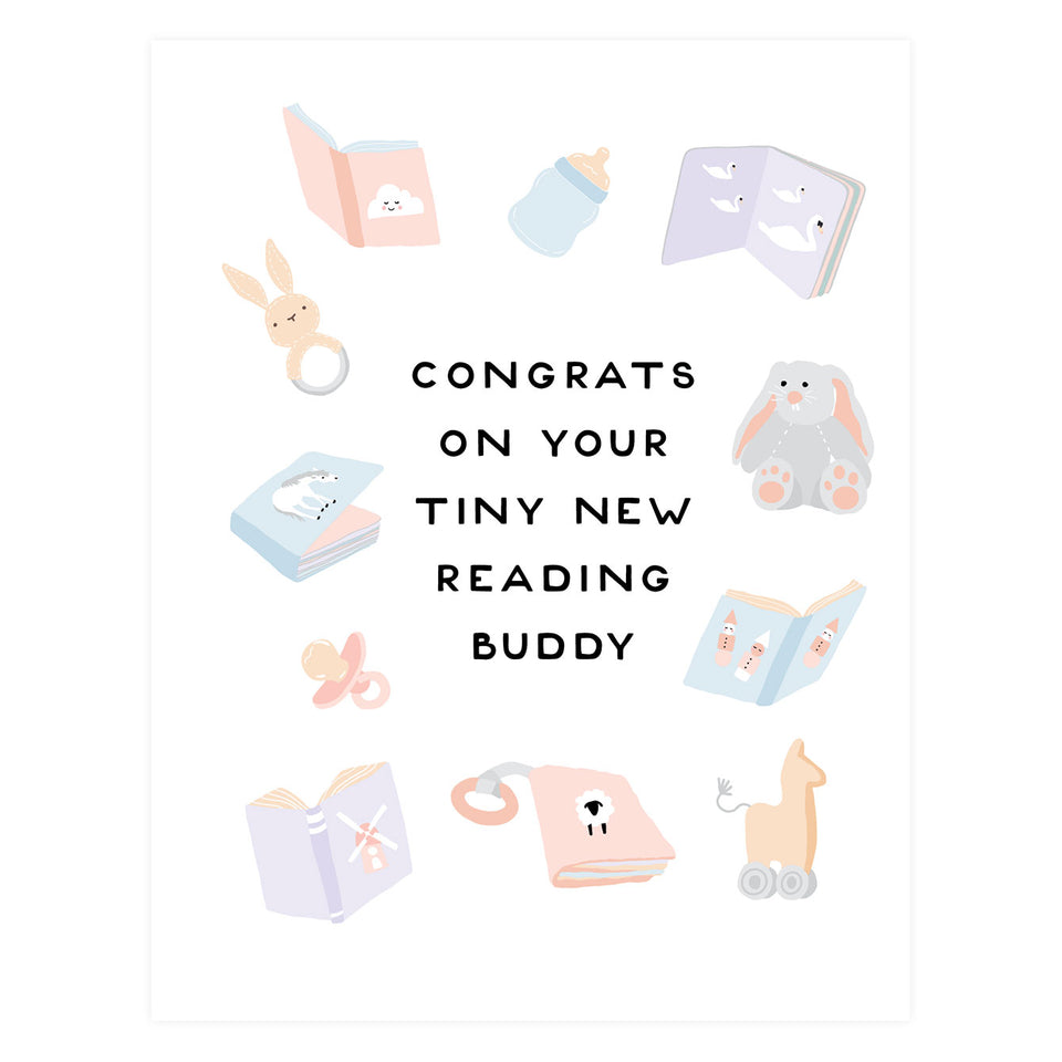 Party Of One Paper Reading Buddy New Baby Card
