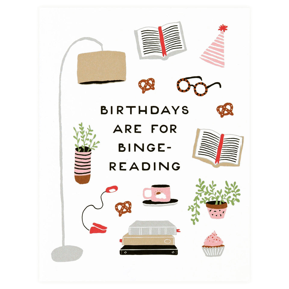 Party Of One Paper Birthday Binge-Reading Greeting Card