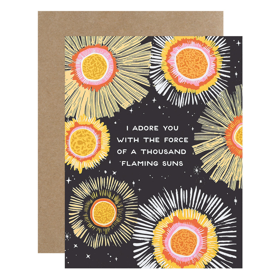 Party Of One Paper Flaming Suns Greeting Card