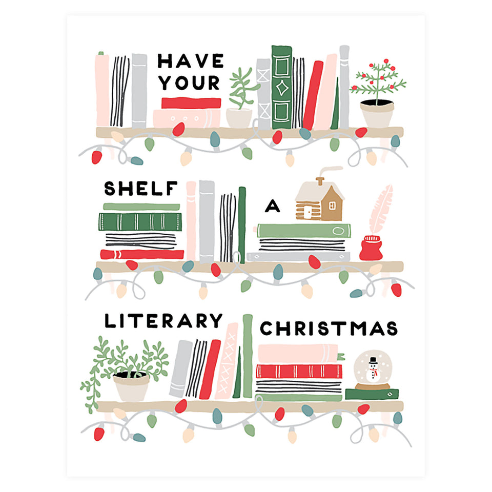 Party Of One Paper Literary Christmas Holiday Cards Boxed or Single