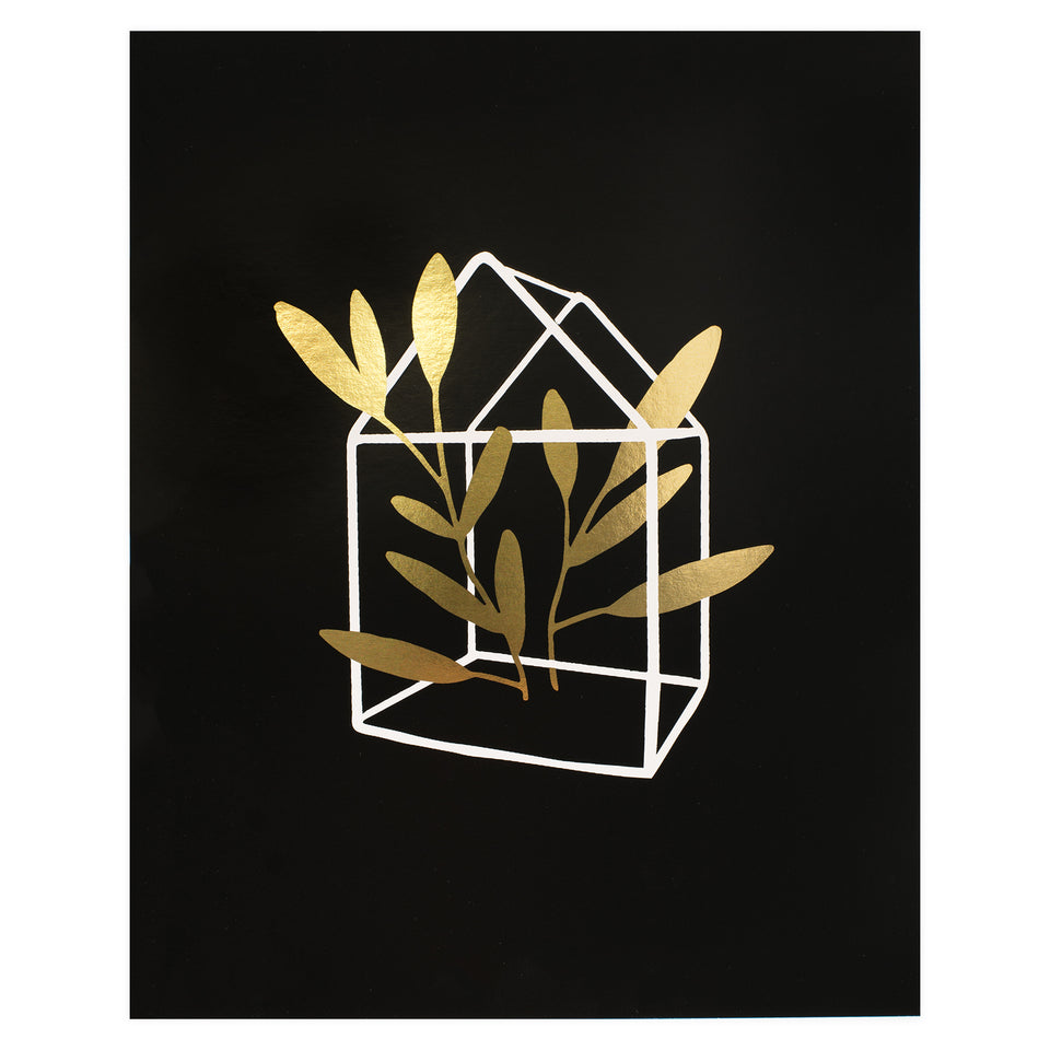 Party of One Paper Terrarium Gold Foil Print