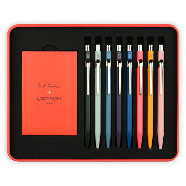 Set of Eight 849 Paul Smith x Caran d'Ache Limited Edition Artist Stripe Ballpoint Pen Collection in Presentation Case By Caran d'Ache - 1