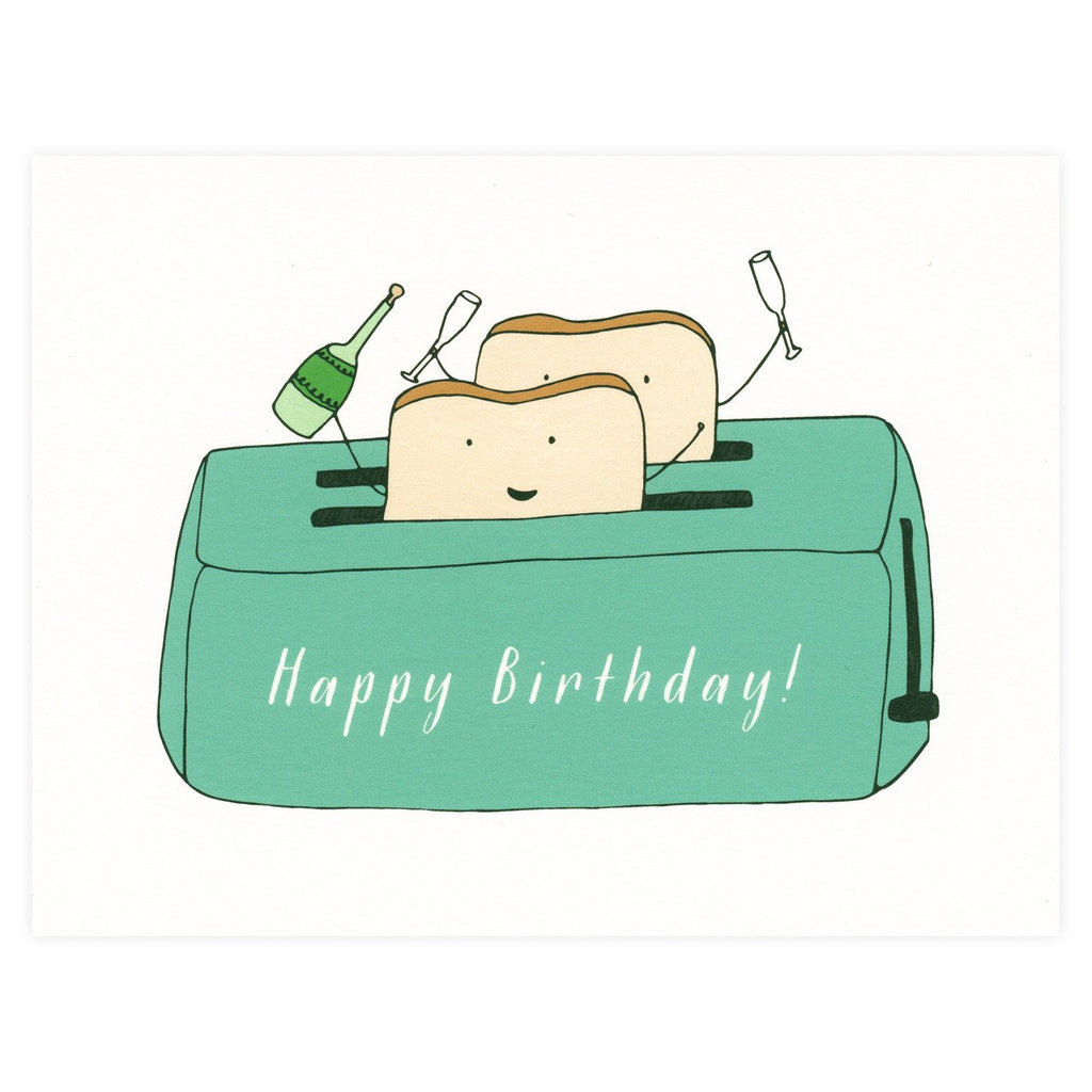Birthday Toast Greeting Card By Paula & Waffle