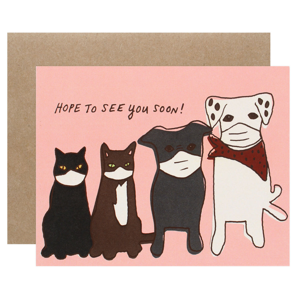 La Familia Green Pets In Masks Greeting Card