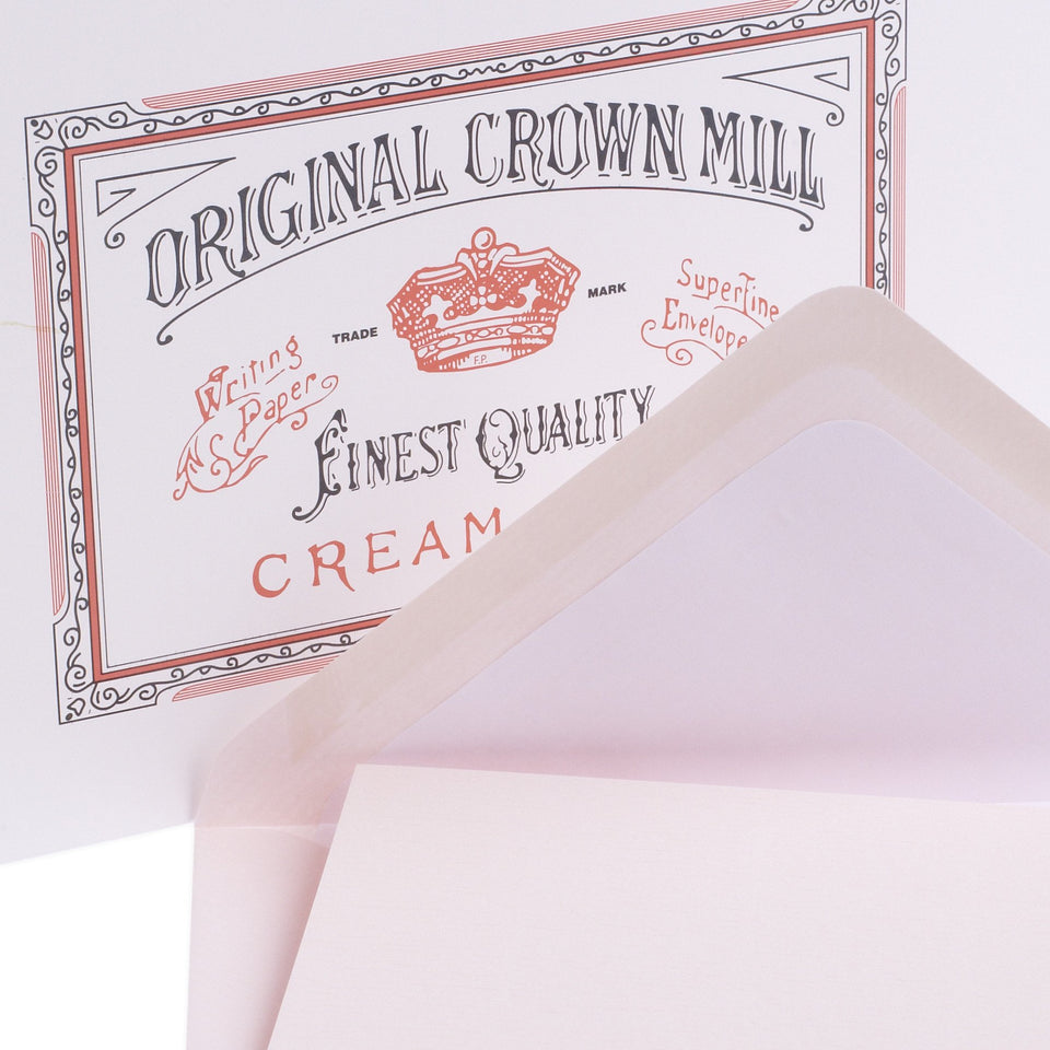 Crown Mill Classic Laid Note Card Presentation Box Pink