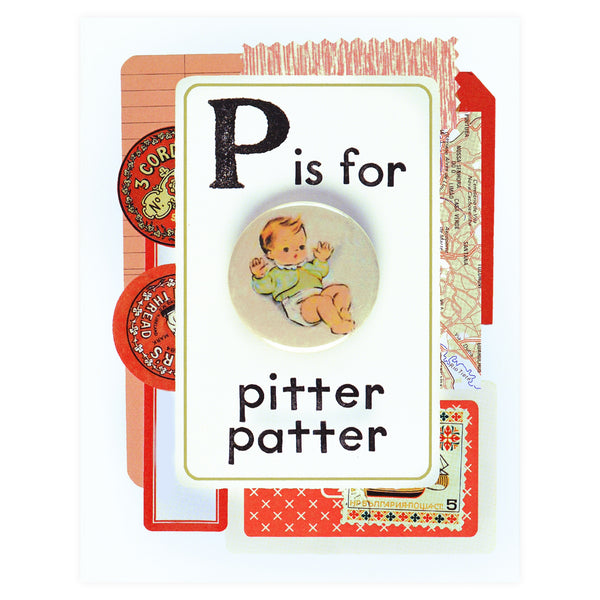 Regional Assembly of Text Pitter Patter Button Pin Card - GREER Chicago Online Stationery Shop