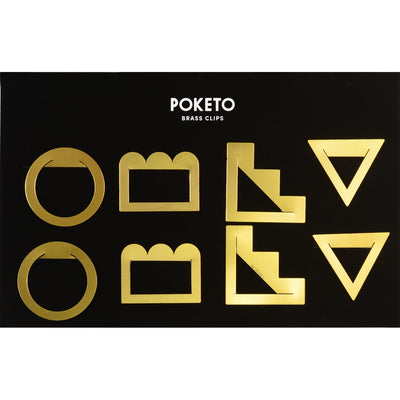 Poketo Brass Geometric Clips Set