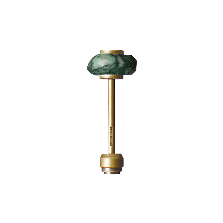 Postalco Mineral Key Holder Semi-Precious Stones and Brass | Namibian Jade, Moss Agate or Rhodonite Namibian Jade