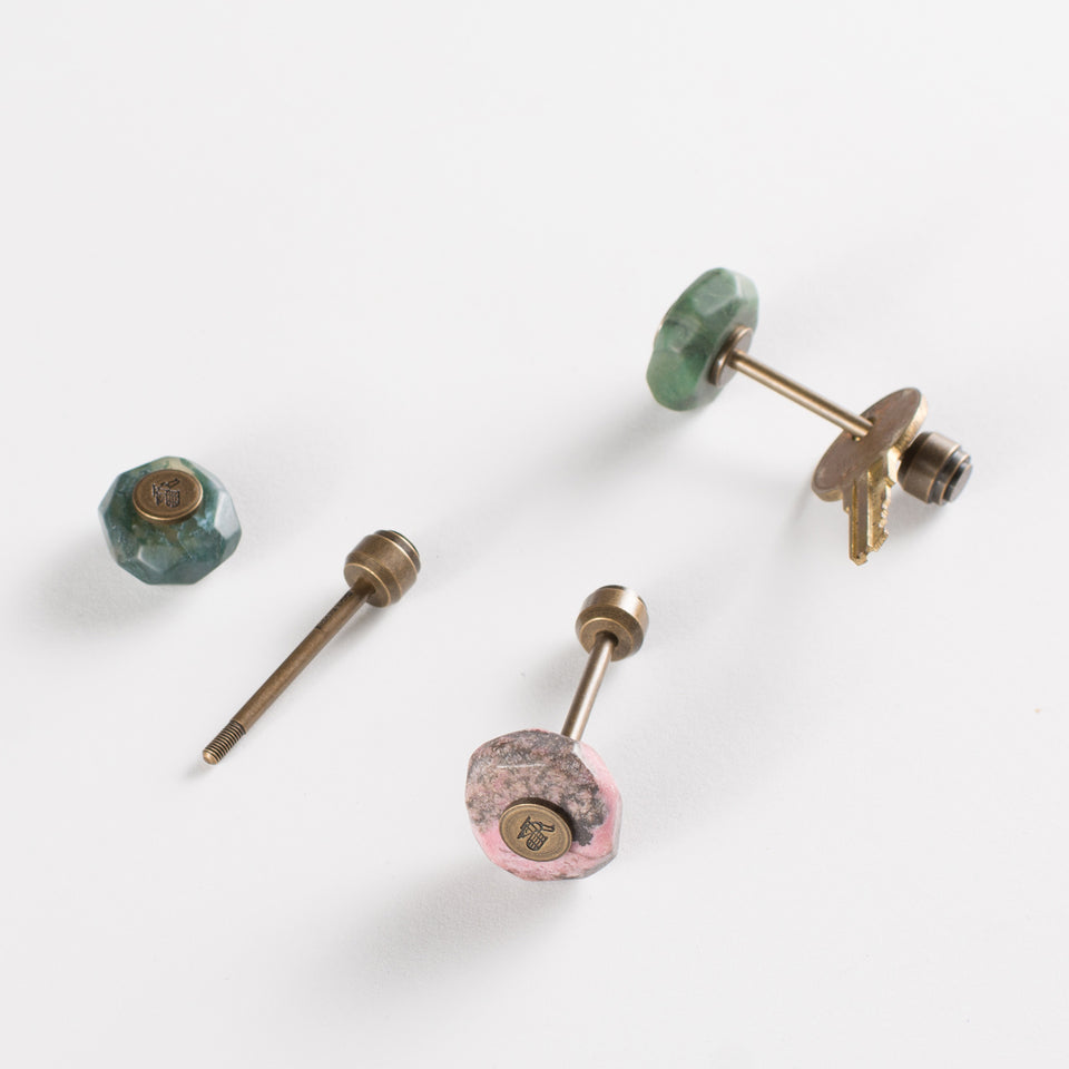 Postalco Postalco Mineral Key Holder Semi-Precious Stones and Brass | Namibian Jade, Moss Agate or Rhodonite