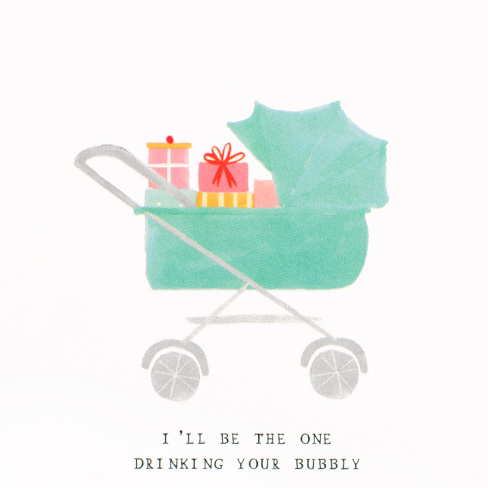 Mr. Boddington's Studio Presents in the Pram Baby Shower Card