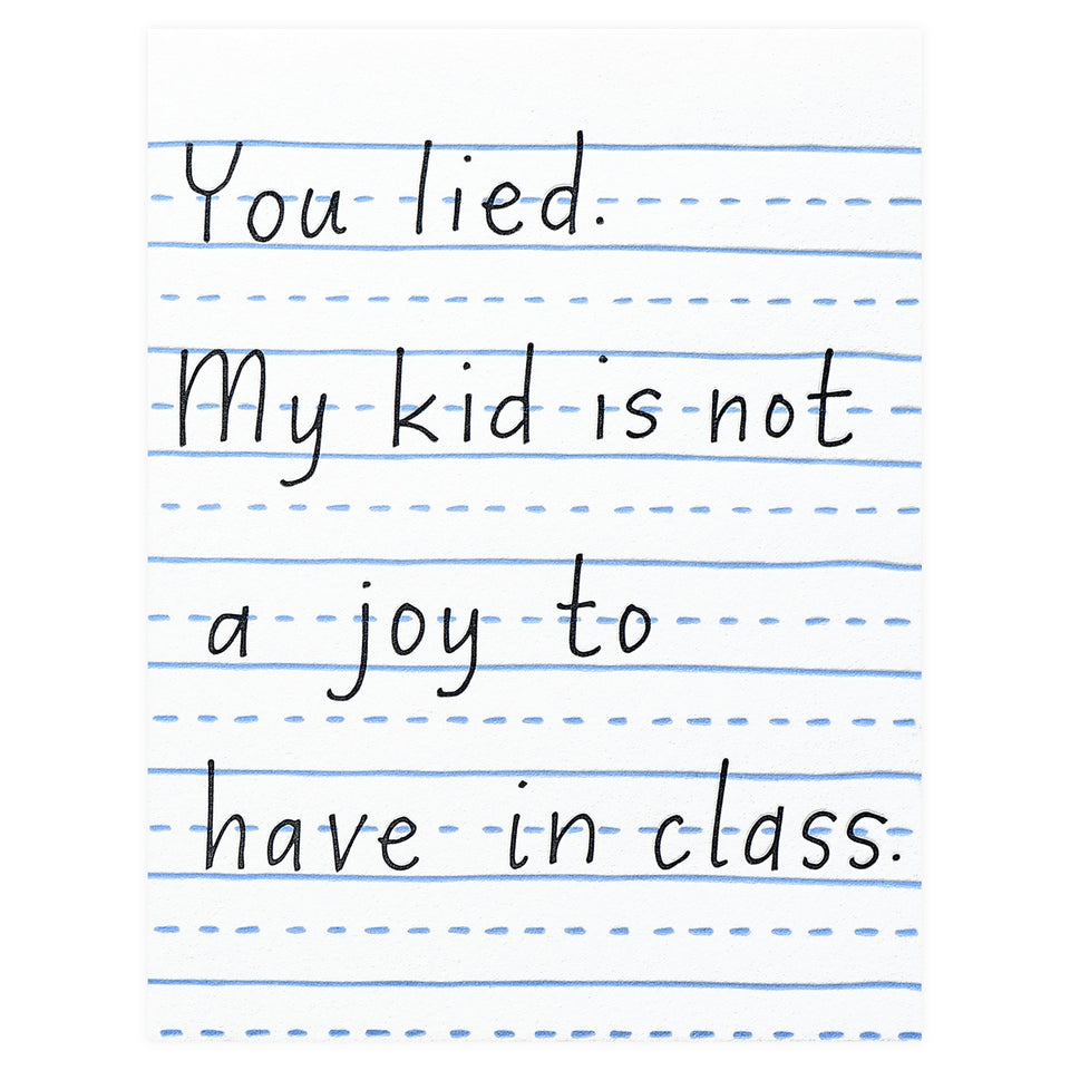 Printerette Press My Kid Is Not A Joy In Class Teacher Thank You Card