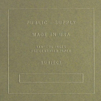 "Public - Supply 5 x 8"" Embossed Cover Dot Grid or Ruled Notebook Olive"