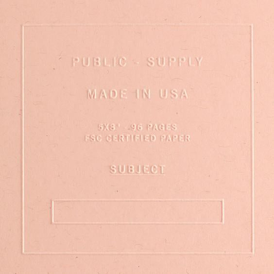 "Public - Supply 5 x 8"" Embossed Cover Dot Grid or Ruled Notebook Blush"