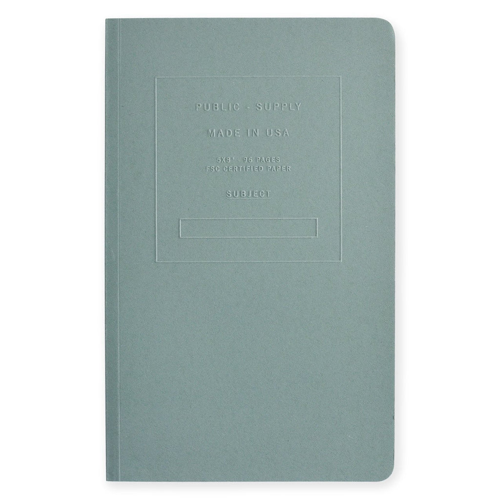 "5 x 8"" Embossed Cover Dot Grid or Ruled Notebook Steel Blue"