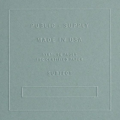 "Public - Supply 5 x 8"" Embossed Cover Dot Grid or Ruled Notebook Steel Blue - GREER Chicago Online Stationery Shop"