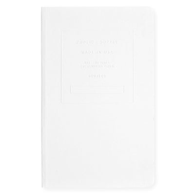 "Public - Supply 5 x 8"" Embossed Cover Dot Grid or Ruled Notebook White - GREER Chicago Online Stationery Shop"