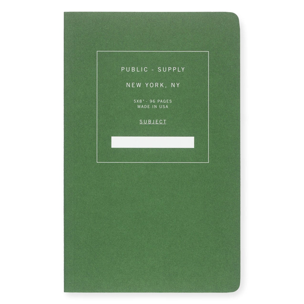 "5 x 8"" Dot Grid or Ruled Notebook Green 01 By Public - Supply - 1"