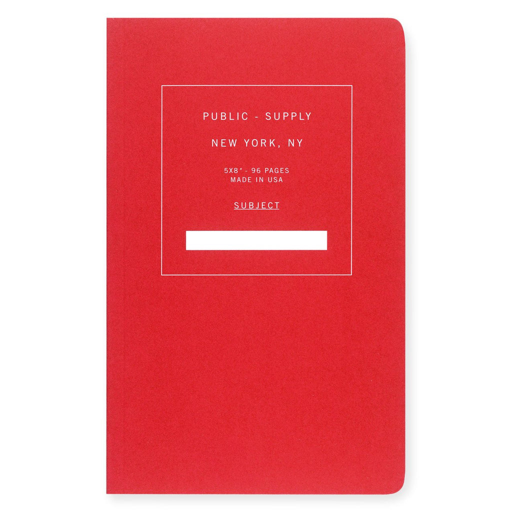 "Public - Supply 5 x 8"" Dot Grid or Ruled Notebook Red 02"