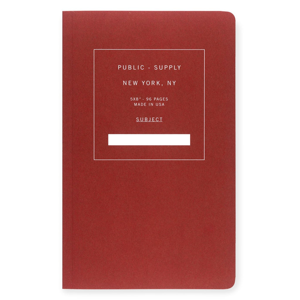 "5 x 8"" Dot Grid or Ruled Notebook Red 01 - GREER Chicago Online Stationery"