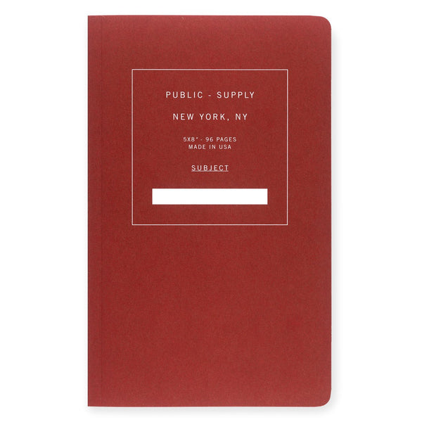 "5 x 8"" Dot Grid or Ruled Notebook Red 01 By Public - Supply - 1"