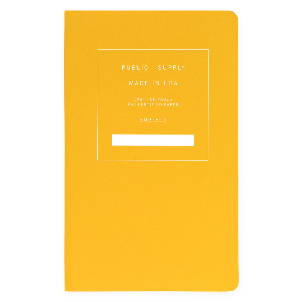 "Public - Supply 5 x 8"" Dot Grid or Ruled Notebook Yellow 01"